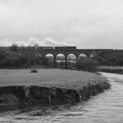 Flying Scotsman crossing Roche Viaduct towards Heywood