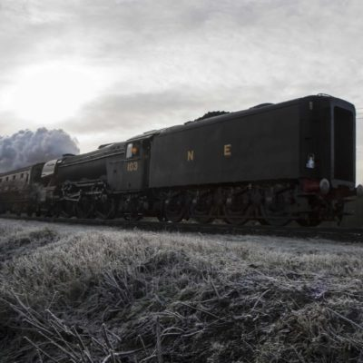 Flying Scotsman tender first, frosty winters day