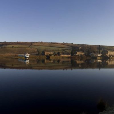 Panorama of Leeming Reservoir, near Oxenhope