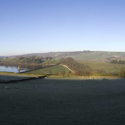 Panorama of Lower Laithe Reservoir, near Haworth