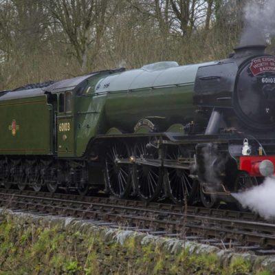 Flying Scotsman departing Haworth, towards Oxenhope.