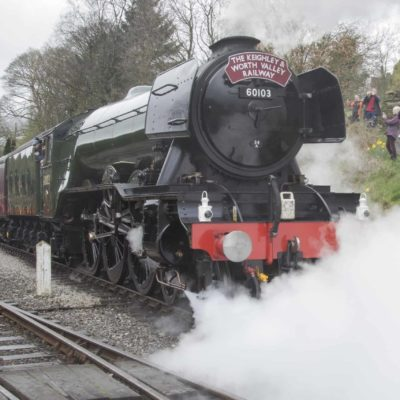 Full steam ahead, departing from Oxenhope.