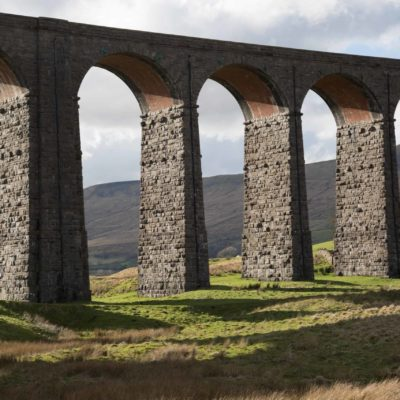 Ribblehead Viaduct in the sun.