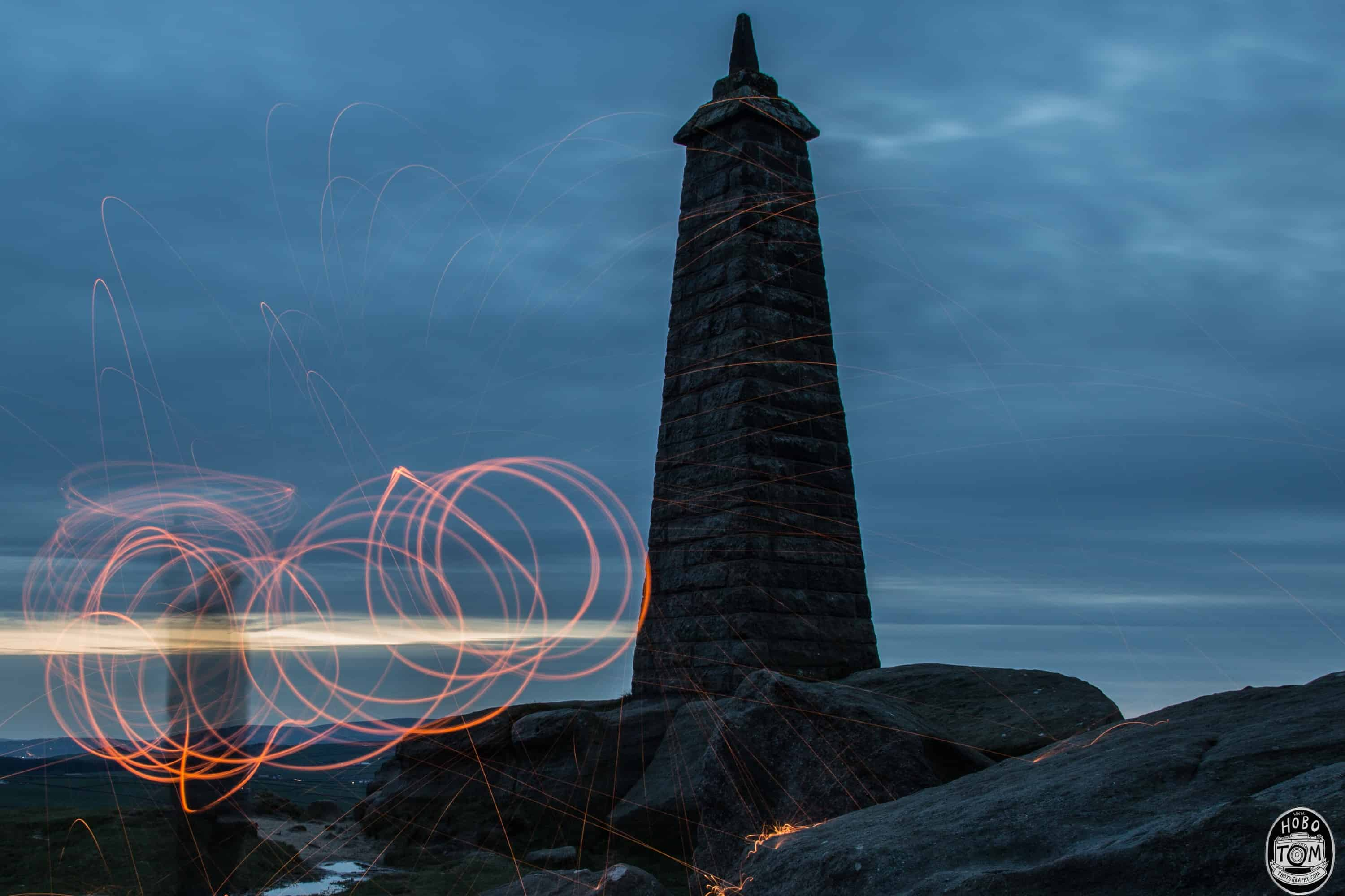 Wire wool spinning at Cowling Pinnacle
