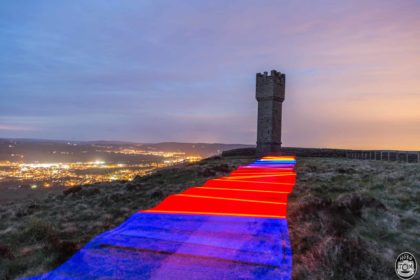 Light painting at Lund's Tower