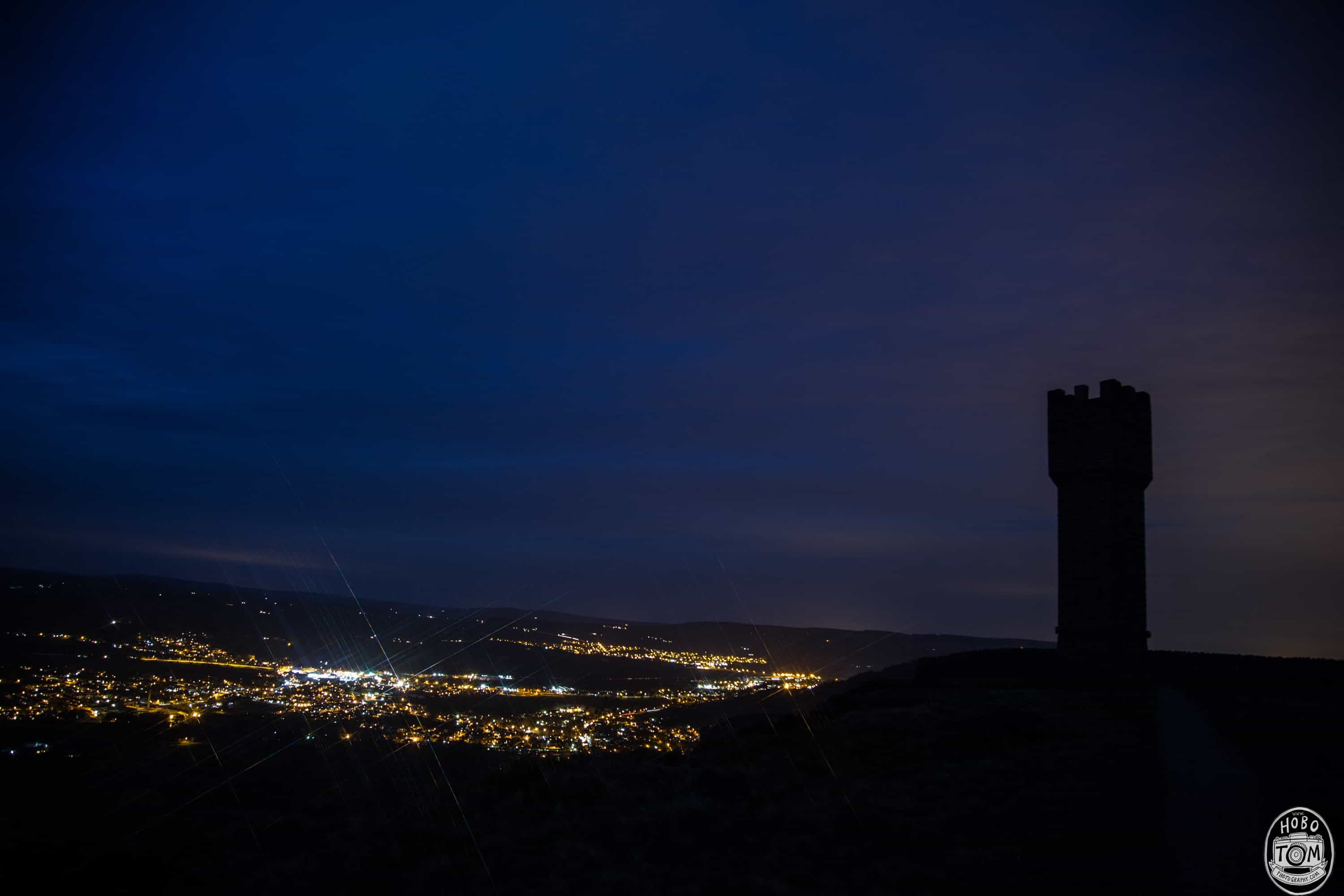 Lund's Tower at night