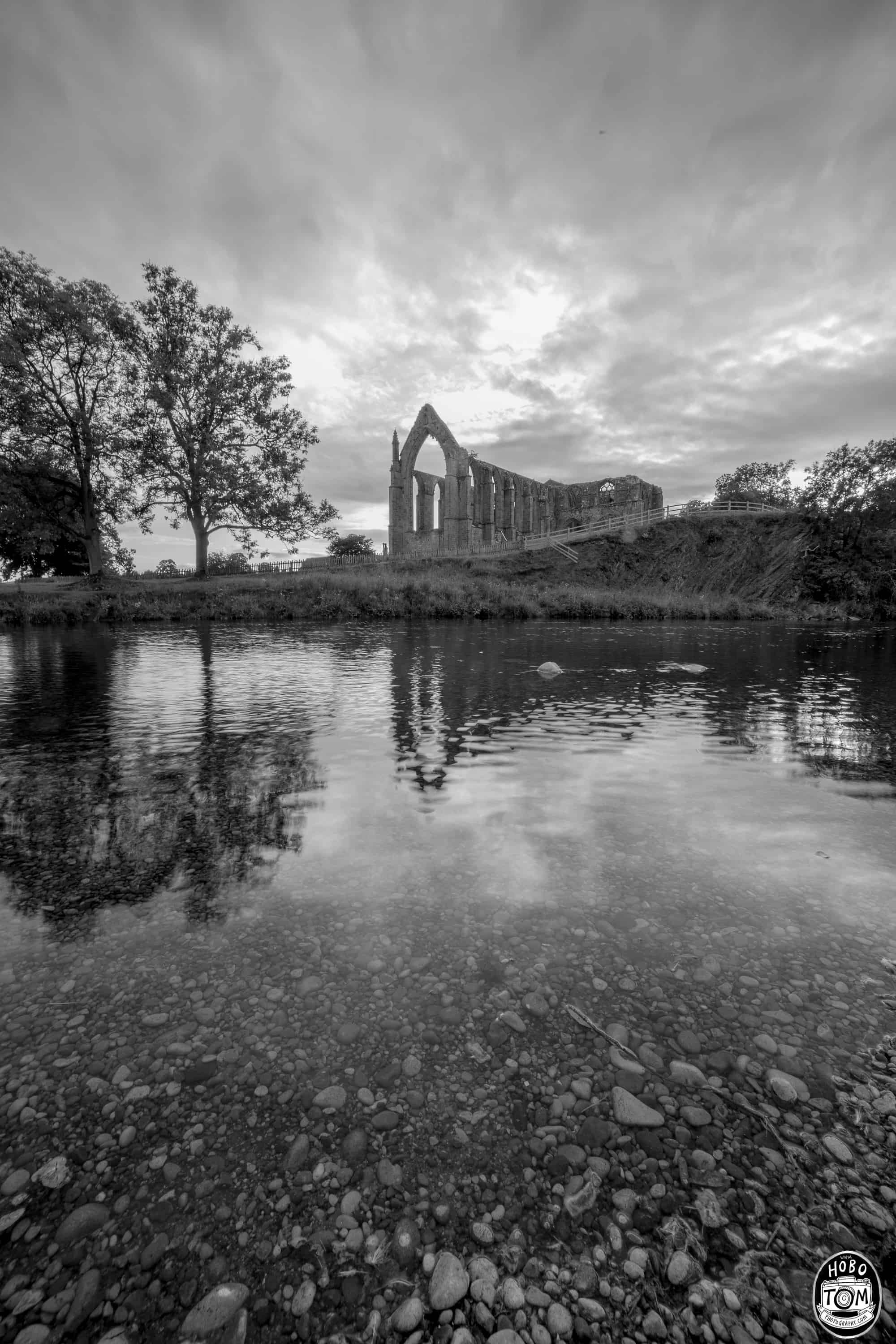 Bolton Abbey Priory Reflection in Black & White