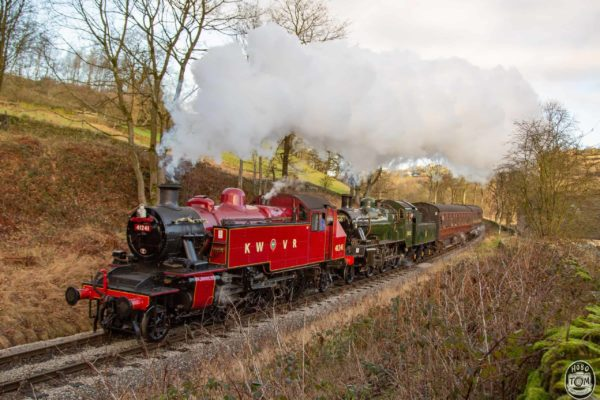 "No.41241 ""Ivatt"" & No.78022 climb towards Oxenhope Station"