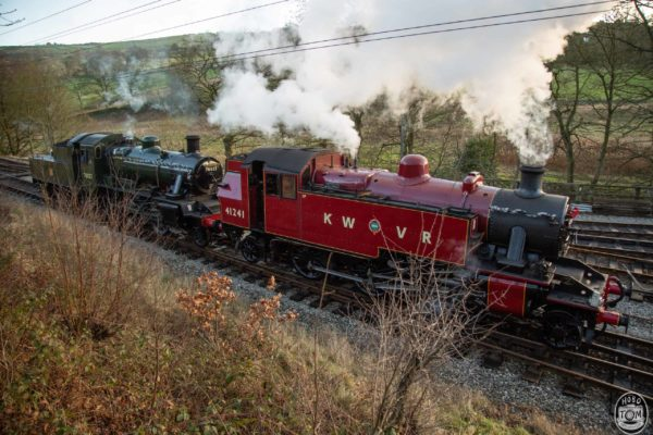 "No.41241 ""Ivatt"" & No.78022 coming around at Oxenhope Station"