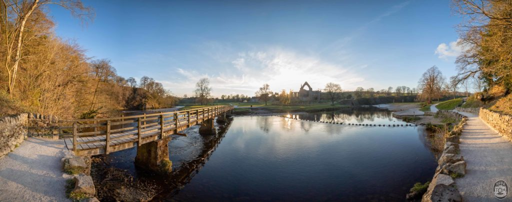 Panoramic view of The Bridge Stepping Stones & Bolton Abbey Priory